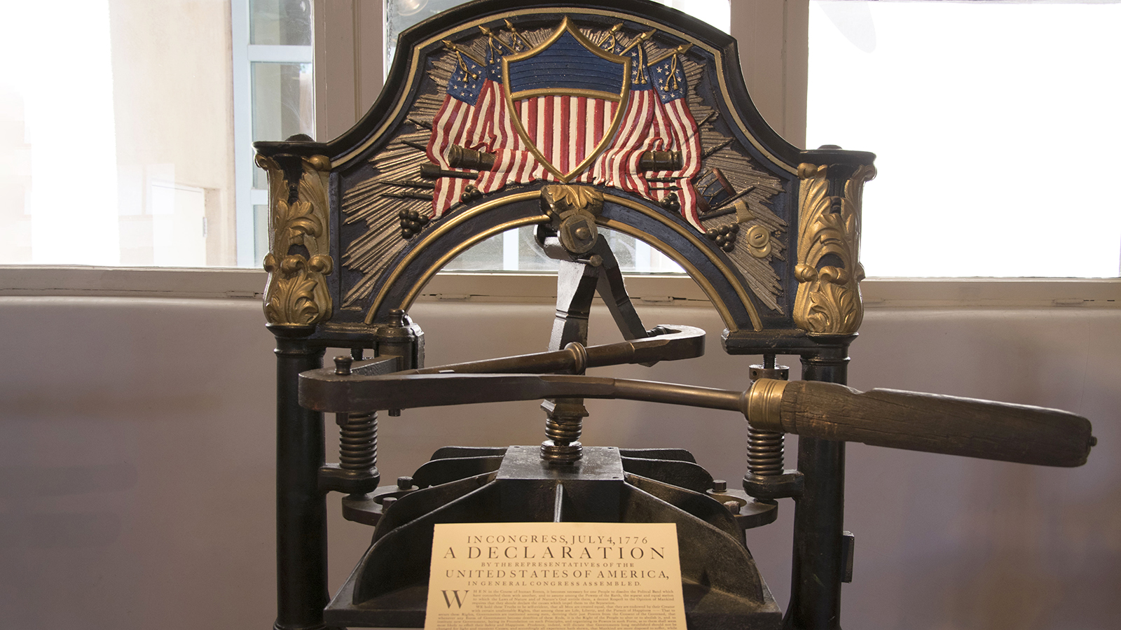 Washington hand press with a commemorative reprinting of the Declaration of Independence. Photo by Hannah Abelbeck