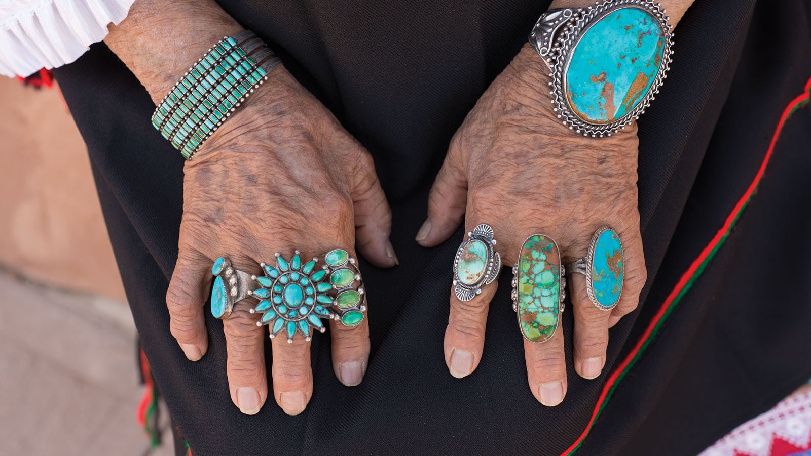 These pieces of jewelry date from the 1910s to the present and show turquoise at its best. Photo by Kitty Leaken